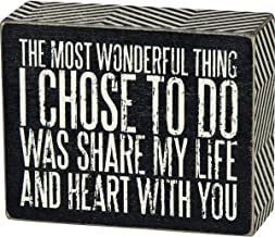 Primitives by Kathy 23610 Chevron Trimmed Box Sign, 4 x 5-Inches, Share My Life