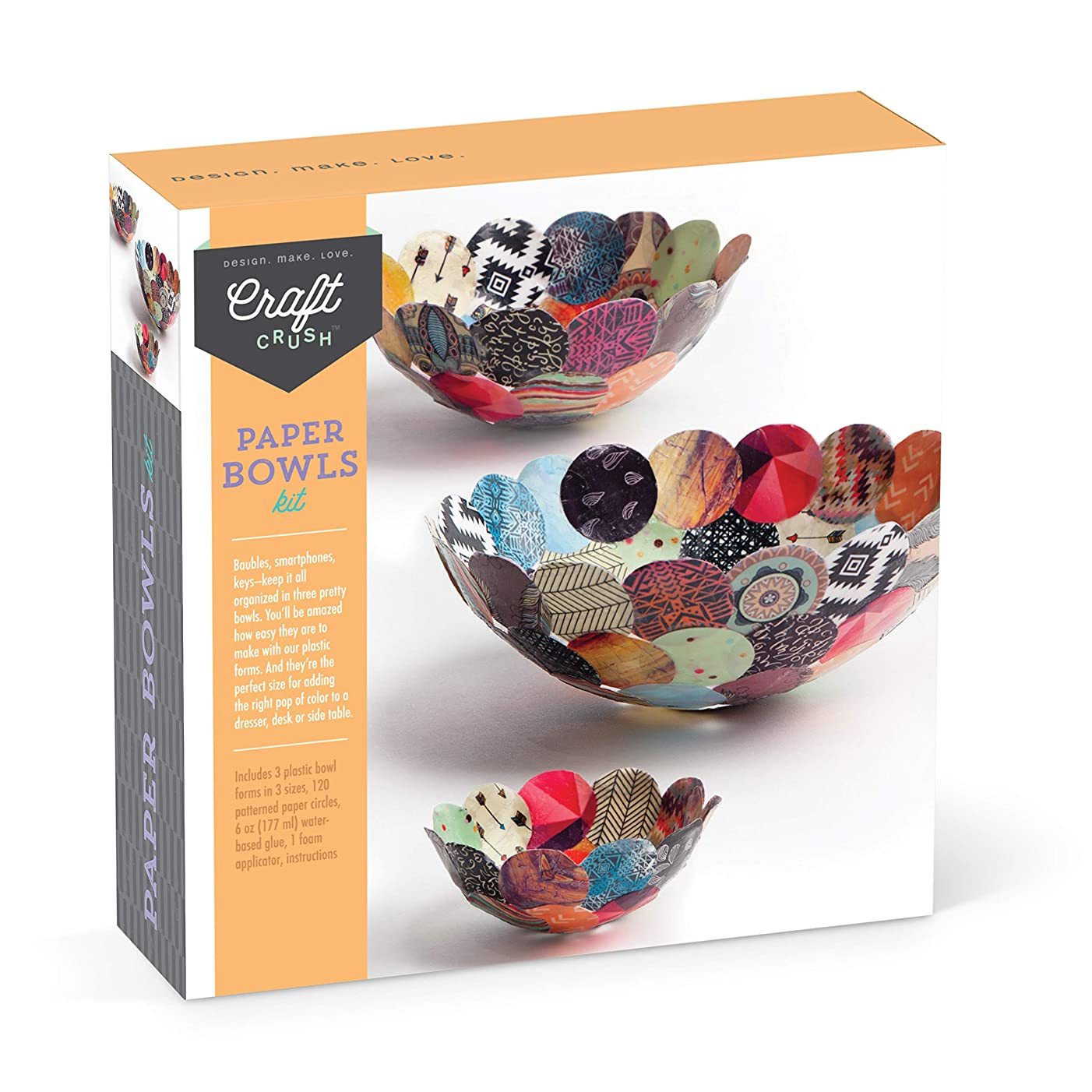 Craft Crush AC1602 Paper Craft Kit Makes 3 DIY Different-Sized Decorative Bowls