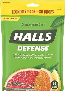 HALLS Defense Vitamin C Supplement Drops (Assorted Citrus, 80 Count)
