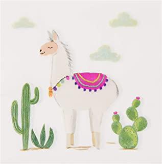 Cocktail Napkins - 150-Pack Luncheon Napkins, Disposable Paper Napkins Kids Birthday Desert-Themed Party Supplies, 2-Ply, Llama and Cactus Design, Unfolded 13 x 13 Inches, Folded 6.5 x 6.5 Inches