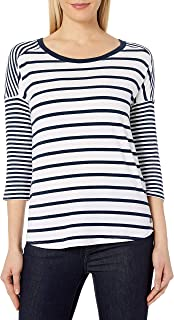 CALVIN KLEIN Performance Women's Stripe Mix Drop Shoulder 3/4 Sleeve Tee