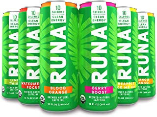 Organic Clean Energy Drink by RUNA, Sampler Pack | Refreshing Tea Taste | 10 Calories | Powerful Natural Caffeine | Healthy Energy & Focus | No Crash or Jitters | 12 Oz (Pack of 6)