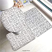 AM09952 Soft Bathroom Rug Mats Set 3 Piece Non-Slip Pads, Bath Mat + Contour + Toilet Lid Cover/Nursery,Wild Animals Set in Coloring Book Style African Safari Fauna in Monochrome Design Decorative,B
