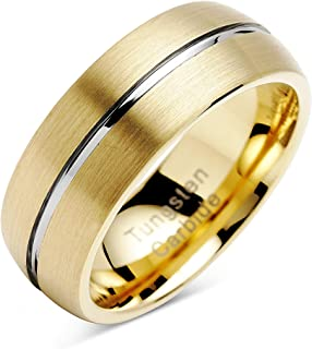 100S مجوهرات شخصية منقوشة خواتم التنجستن للرجال النساء الذهب الزفاف العصابات الفضة مخدد اثنين من لهجة قبة نمط حجم 6-16