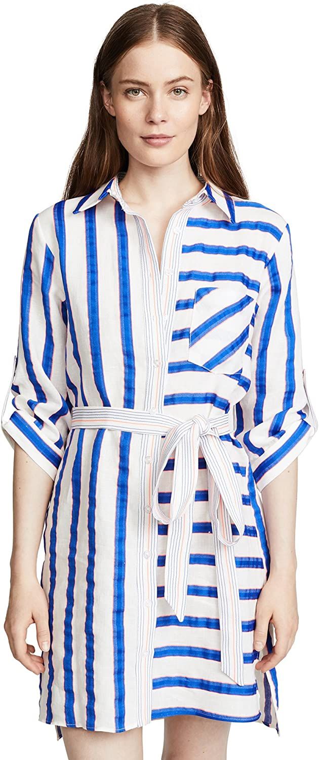 MILLY Women's Washed Linen Striped Down Limited time cheap sale Mesa Mall Shirtdress Casual Button