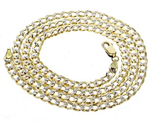 Midwest Jewellery 10K Gold Cuban Link Chain 5.5mm Laser Cut Mens Gold Necklace