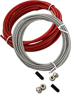 Fit Vikings Replacement Cable for Speed Jump Rope - Weighted Cables for Heavy Rope - 2 x 10ft Replacement Cords - with Screws and End Caps