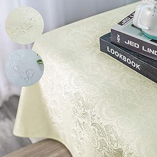 Nappe Lavable Nappe Facile d'entretien 120 x 160 cm (1,9 ㎡) Linge de Table Soie Brillant Nappe Hydrofuge crème