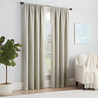 ECLIPSE Solid Thermapanel Modern Room Darkening Rod Pocket Window Curtain for Bedroom (1 Panel), 54 in x 63 in, Stone