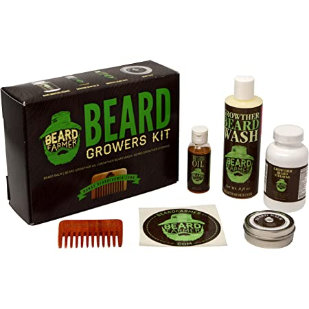 Ultimate Beard Growth Kit - Faster Growth with Beard Farmer Beard Gift Set - Beard Kit Includes: All Natural Beard Oil, Beard Vitamins, Beard Balm, Beard Shampoo, Beard Comb