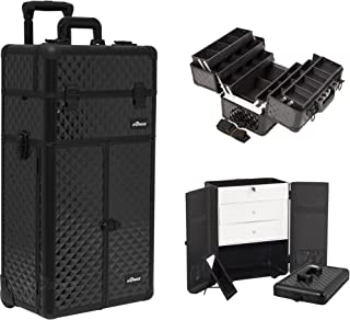 SunRise I3466DMAB Black Diamond Professional Rolling Aluminum Cosmetic Makeup French Door Opening Craft Storage Organizer Case with Large Drawers and 6 Tiers Extendable Trays with Dividers