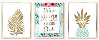 Teen Girl Room Wall Decor Art Prints - Inspirational Wall Art, Motivational Quotes Posters for Kids, Tween Women Office Bedroom, Dorm, Desk-UNFRAMED 8 x 10- Palm Tree, She Believed, Pineapple