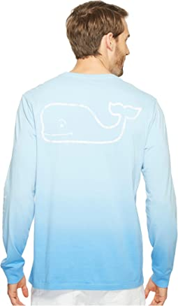 Long Sleeve Dip-Dyed Vintage Whale Pocket T-Shirt