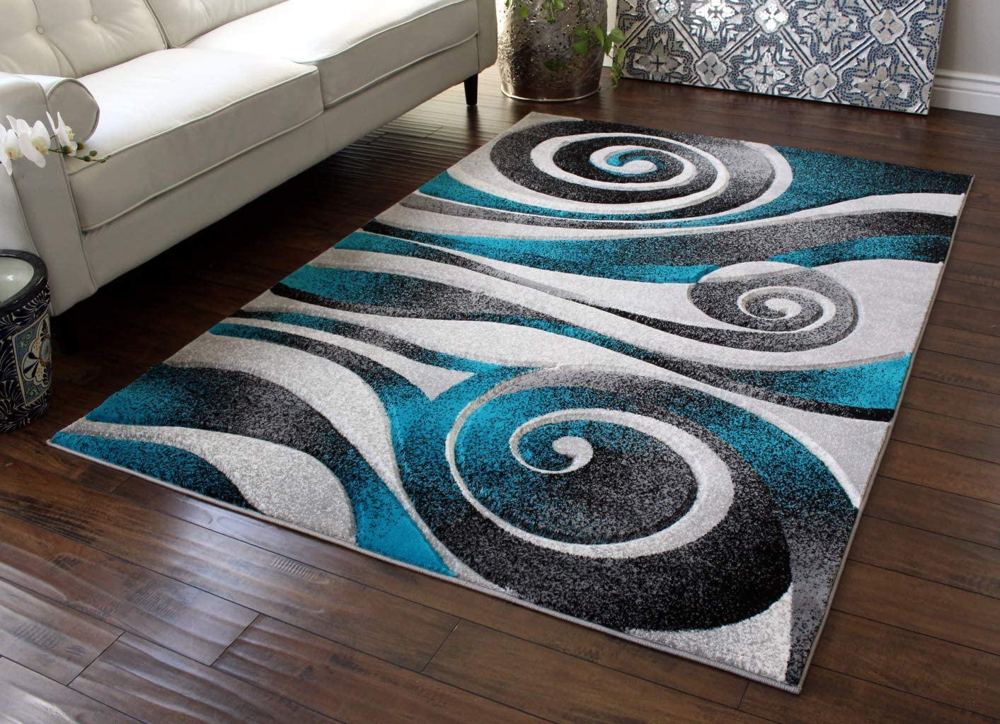 Masada Rugs Grey Black White Turquoise Super Special SALE held H Modern Woven Rug Virginia Beach Mall Area