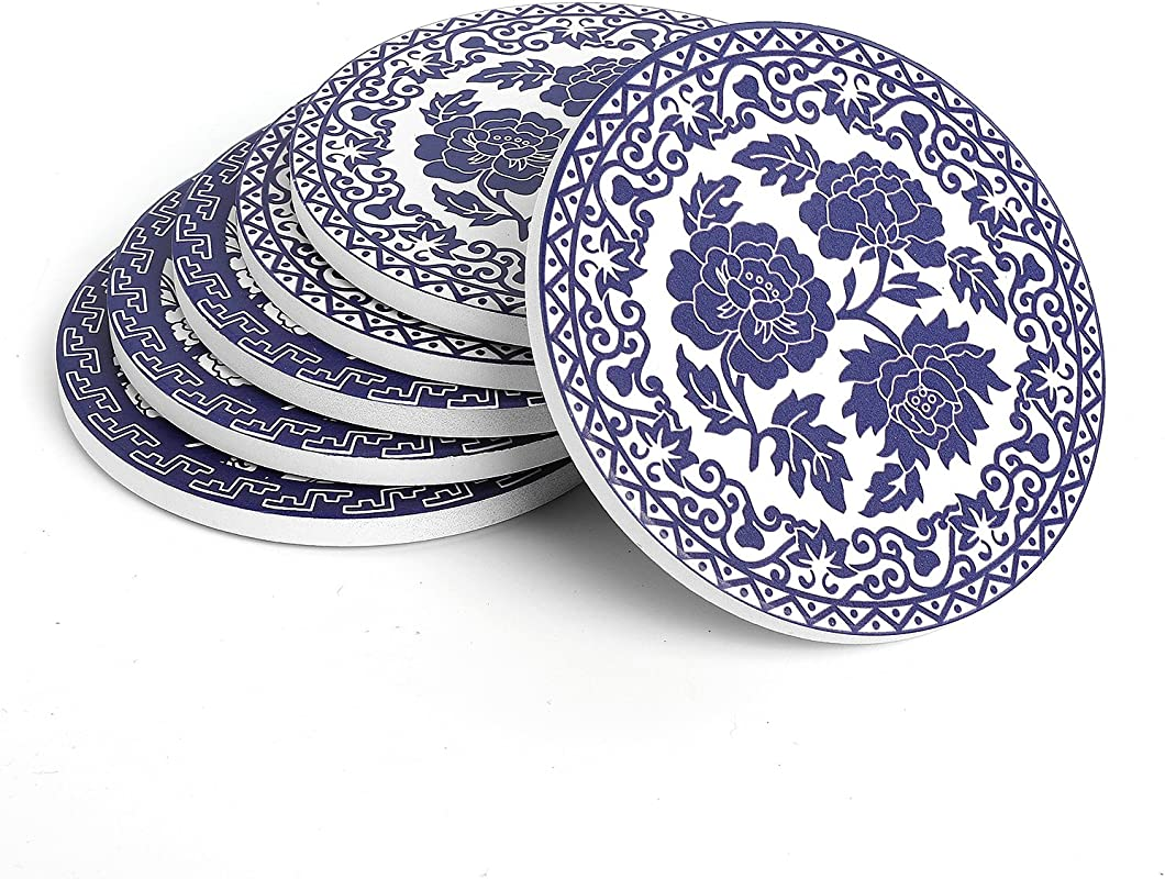 Teocera Drink Coasters Blue And White China Absorbing Stone Coasters With Cork Base Set Of 6