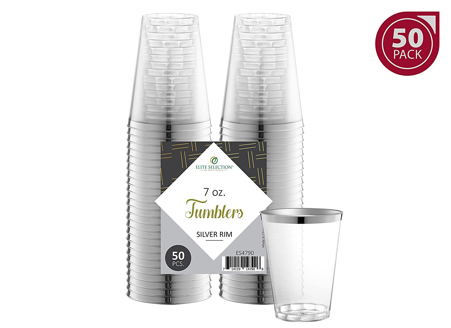 Elite Selection Silver Rimmed Shot Glasses | 7 Oz. Clear Plastic Disposable Cups with Silver Rim | Perfect Party Shot Cups for Shots, Tasting, Sauce, Dips | Pack of 50