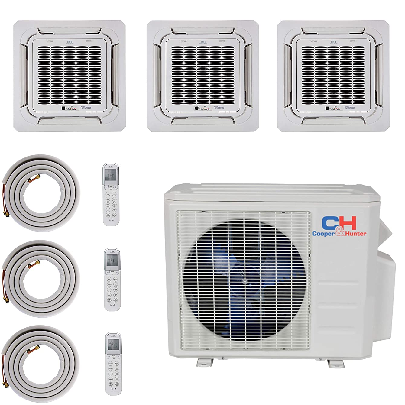 COOPER AND HUNTER Tri 3 Zone Ductless Mini Split Ceiling Cassette Air Conditioner Heat Pump 12000 12000 12000