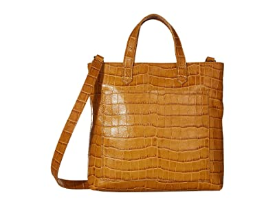 Madewell Small Inset Zip Crossbody in Croco (Boutique Gold) Handbags