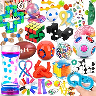 61 Pcs Sensory Fidget Toys Pack,Stress & Anxiety Relief Tools Bundle Figetget Toys Set for Kids Adults,Autistic ADHD Toys,...