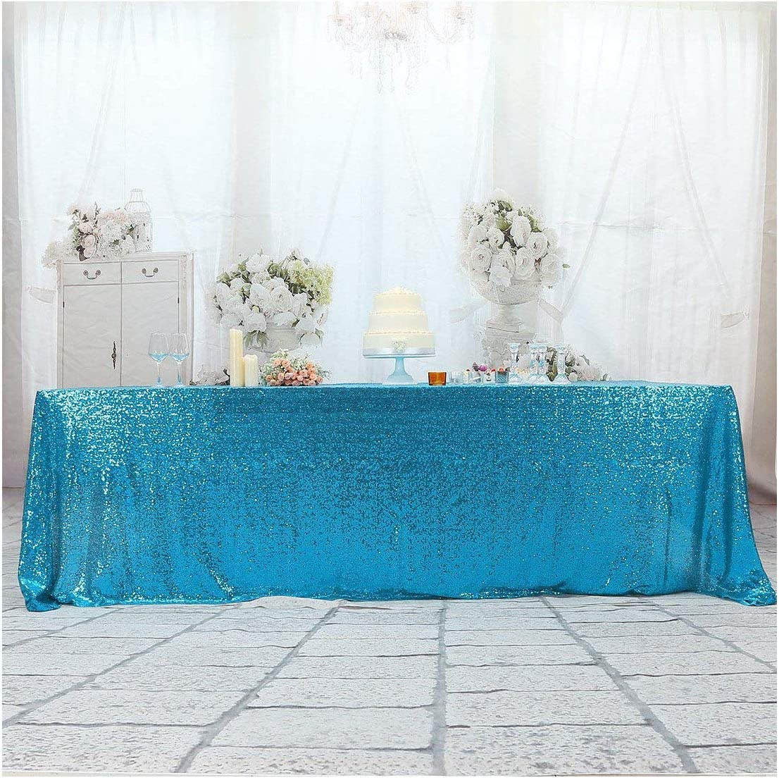 Poise3EHome 卸売り 90×132'' Rectangle Sequin Tablecloth for Cake 数量は多 Party