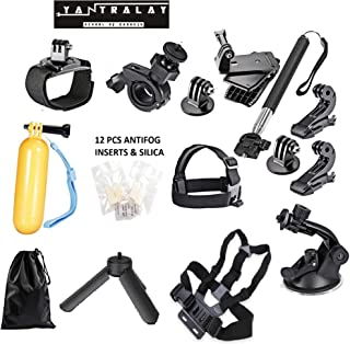 Yantralay 15 in 1 Gopro Accessories Kit for Hero 8 7 6 5 4 3+, Osmo Action,SJCAM SJ4000 SJ5000, Yi & Other Action Cameras (15 Items)