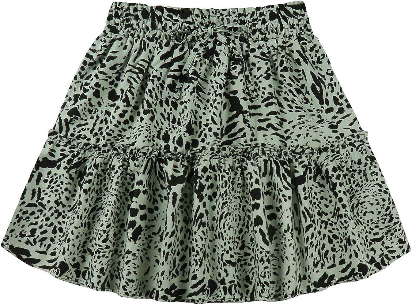 Kormei Women's Ruffled Boho Floral Print High Waist Drawstring Mini Short Flared Skirt