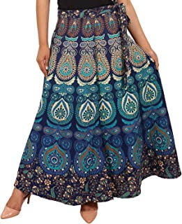 Jaipuri Fashionista Women's cotton skirt Bottom (128JFRFMRBLU_ Blue_ Large)
