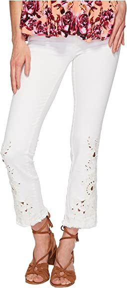 Cutwork Cigarette Jeans - White