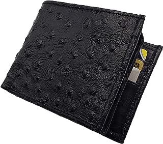 Genuine Leather Ostrich Skin Designed Bi-fold Men's Embossed Wallet Black