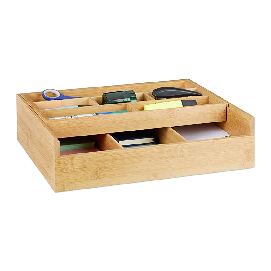 Relaxdays Bamboo Sorting Tray, 9 Compartments, Drawer Insert, Open Storage Box, Jewellery, Office, HWD 9.5x37x31.5 cm, Natural, 31.5 x 37 x 9.5 cm