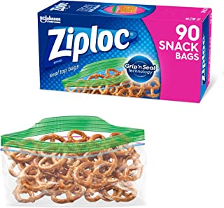 Ziploc Snack and Sandwich Bags for On the Go Freshness, Grip 'n Seal Technology for Easier Grip, Open, and Close, 90 Count