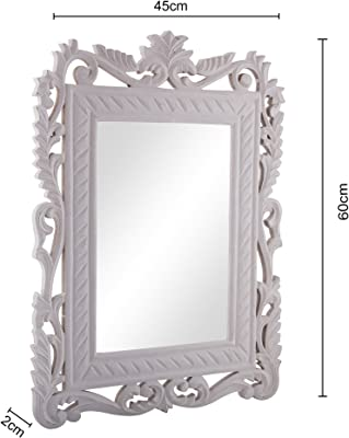 Homesake® French Carved Royal Vintage Decorative Wooden Wall Mirror, Classic Antique White