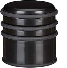 Relaxdays Deurstopper voor de vloer, zware deurstopper, voor deuren en ramen bij tocht, 3 rubberen ringen, diameter 7 cm, ...