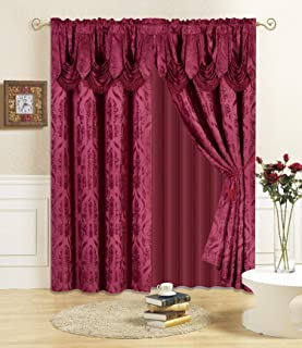 """All American Collection New 4 Piece Drape Set with Attached Valance and Sheer with 2 Tie Backs Included (63"""" Length, Burgu..."""
