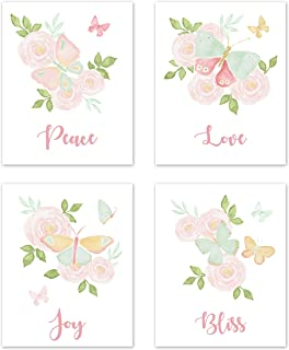 Sweet Jojo Designs Blush Pink, Mint and White Watercolor Rose Wall Art Prints Room Decor for Baby, Nursery, and Kids for Butterfly Floral Collection - Set of 4 - Peace, Love, Joy, Bliss