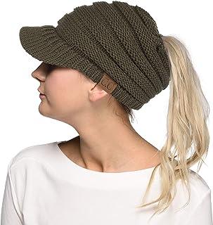 3587224ac95 Hatsandscarf C.C Exclusives Messy Bun Ponytail Visor Brim Beanie Hat  (MB-131) (