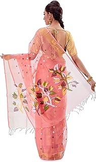 SareesofBengal Women's Muslin Silk Handloom Dhakai Jamdani Saree Peach