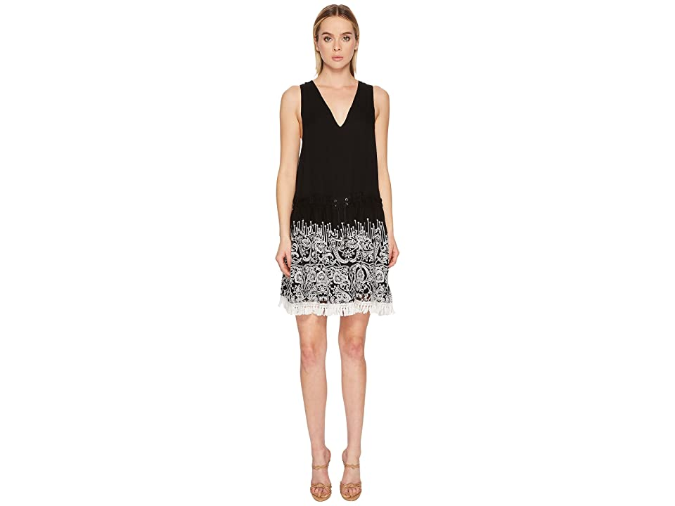 Jonathan Simkhai Embroidered Silk Crinkle Mini Dress Cover-Up (Black) Women