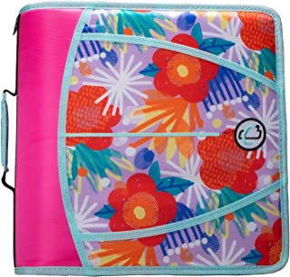 Case-It D-386-P Zipper Binder 3 inch capacity, Pop Floral Pink
