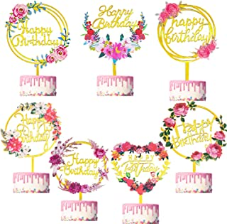 Teblacker 7 Pack Happy Birthday Cake Topper Acrylic Flower Cupcake Topper for Various Birthday Party Cake Decorations