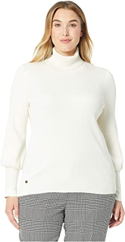 Plus Size Ribbed Puff-Sleeve Sweater