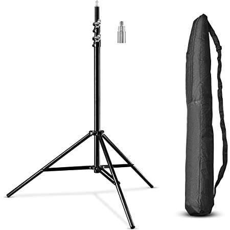 Walimex pro WT-806 Soporte de luz (con amortiguación de muelle, aluminio, máximo 256 cm, carga de 6 kg, Soporte para reflector, flash, softbox de estudio) con bolsa