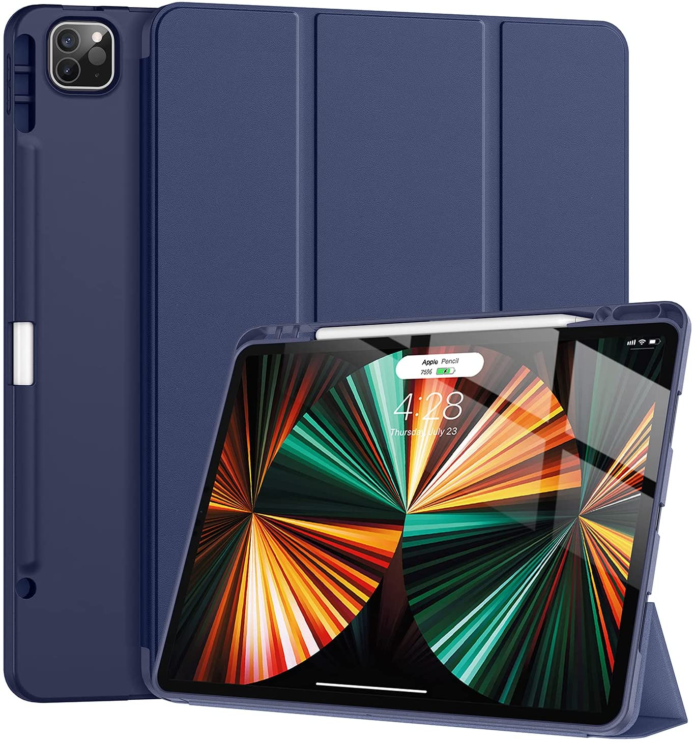 Tuosake iPad Pro 12.9 inch Case 2021 5th Generation with Pencil Holder,Slim Lightweight Trifold Stand Case【Pencil Charging+Auto Sleep/Wake】 Soft TPU Back Cover for iPad Pro 12.9 2021-Dark Blue