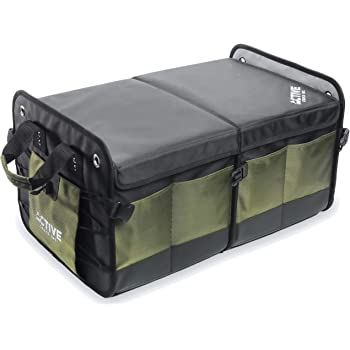 Active Croco's Car Trunk Organizer with Lid - Foldable Storage for SUV & Truck - Collapsible Cargo Box - (2 Compartments) - Tool Box Organizer - Groceries organizer and road trip essentials