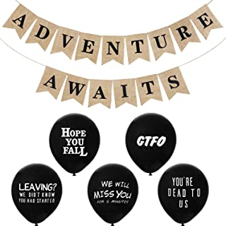 Adventure Awaits Bon Voyage Banner and Office Leaver Funny Balloons Going Away Last Day Office Balloons for Retirement Graduation Travel Themed Party Decoration
