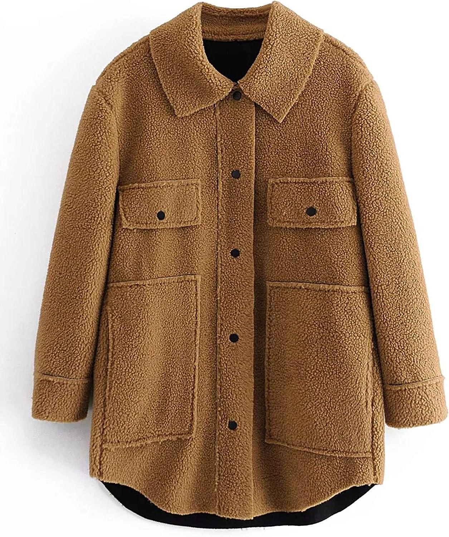 Qiaomai Womens Lamb Faux Fur Shaggy Fuzzy Lapel Snap Pocketed Short Shacket Coat