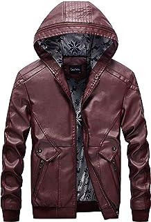 chouyatou Men's Stylish Hooded Zip-Front Fleece Lined Moto Pu Leather Bomber Jackets