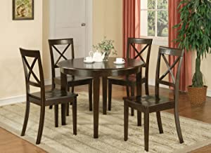 East West Furniture Round Dining Table Set 5 Piece - Cappuccino Color Wooden Dining Chairs Seat - Cappuccino Finish Round Kitchen Table and Frame