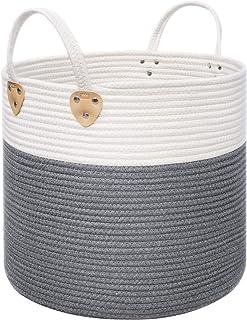 SONGMICS Panier à linge en corde de coton avec poignées - 50 L - Pour jouets, vêtements, couvertures, gris et beige - 40 x...