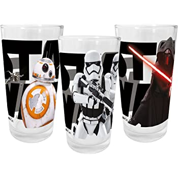 Star Wars Episodio VII 200 ml Juego de 3 vasos de cristal, multicolor, 27 x 6,5 x 12,5 cm, 3 unidades: Amazon.es: Hogar